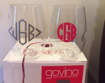 4 Monogrammed Govino Dishwasher Safe
