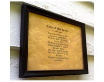 """Vintage Wall Sign """"Rules of This Tavern"""" in Reliance Frame"""