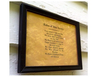 "Vintage Wall Sign ""Rules of This Tavern"" in Reliance Frame"