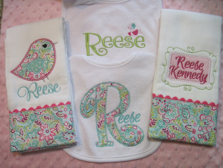 personalized baby girl burp cloths and bib by sassyjunebugdesigns