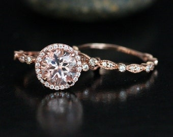 Dollar 200 OFF LIMITED TIME Period Discount - Morganite Wedding Ring Set in 14k Rose Gold with Morganite Round 8mm and Diamond Halo and Band