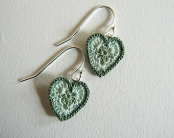 Green Heart Granny Square Earrings
