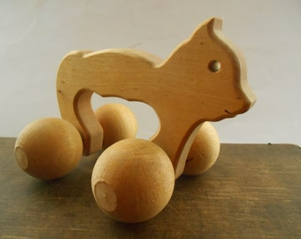 Vintage Wooden Cat Scandinavian Pull Toy Hand Crafted Elk on Wheels Rolling Massager Cat Nursery decor