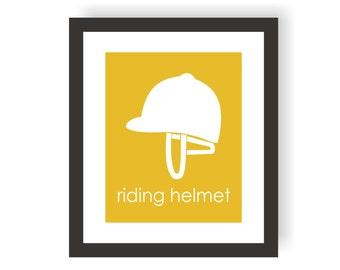 Riding Helmet Modern Nursery Art Print, Western, Equestrian Nursery Decor, Playroom Print, Toddler, Kids Wall Art Print