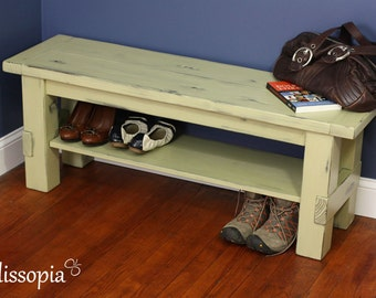 Painted and Distressed Solid Wood Storage Bench - Farmhouse Style, Shoe Storage