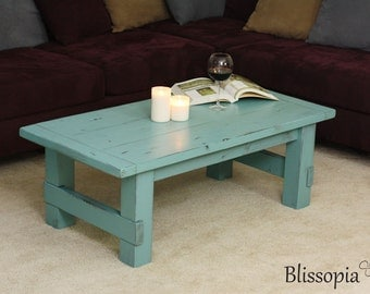 Wood Coffee Table, Painted and Distressed Farmhouse Style, Rustic Beach House
