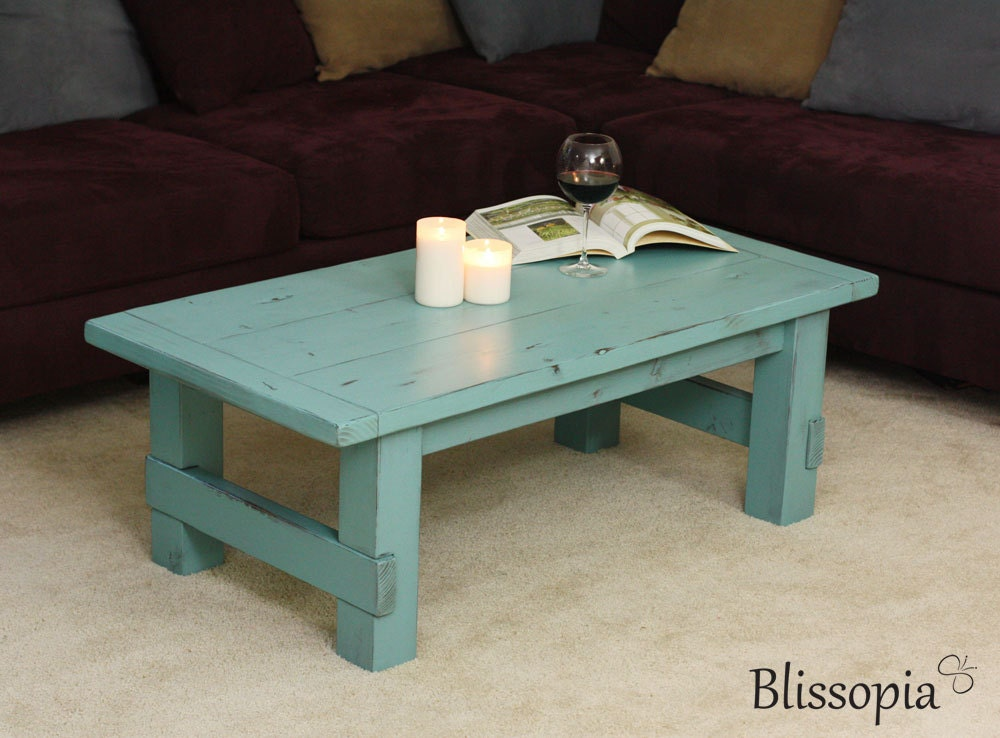 Wood coffee table painted and distressed farmhouse style Farm style coffee tables