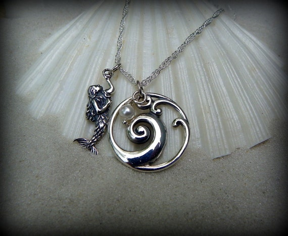 Sterling silver ocean wave necklace,  ocean theme, sea life jewelry, ocean swimmers