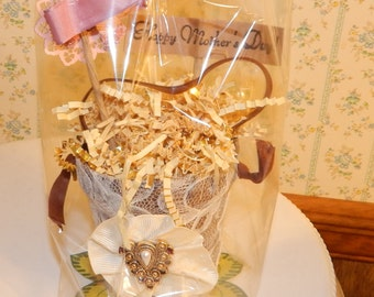 Altered Art Peat Pot Basket,Theme ''Happy Mother's Day'', Lace Covered Peat Pot