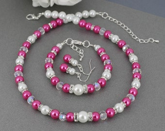 Hot Pink Necklace, Hot Pink Pearl Necklace Set, Hot Pink and White Necklace Bracelet Earrings Set, Bridesmaid Gift, Hot Pink Bracelet