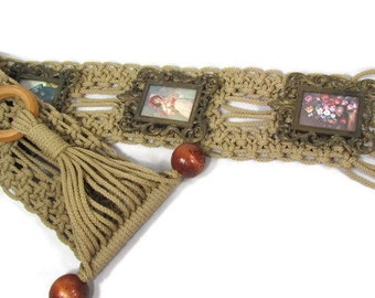 Macrame Vintage Wall Hanging with Attached Photo Frames