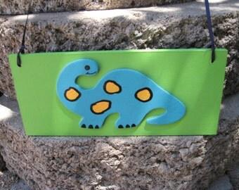 Dinosaur Wall Hanging Sign Plaque Blue & Green