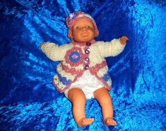 BABY CROCHET JACKET and bonnet.