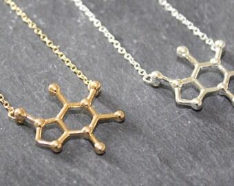 Caffeine Necklace Caffeine Molecule Necklace Charm Necklace Caffeine Charm Coffee Necklace Chemistry Necklace