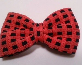 Pink/Black Checkered Bow