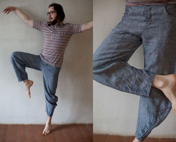 Vintage men summer pants/ blue grey linen yoga pants/ men