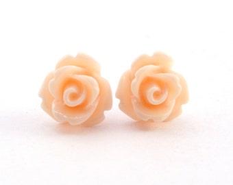Tiny Peach Rose Earrings, Wedding Jewelry, Bridesmaid Gift, Under 5 Dollars
