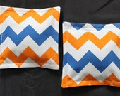 100% Flaxseed Boo Boo Pack Set ... Chevron ... Blue ... Orange ... Unscented Washable Reusable Hot Cold Packs for Kids