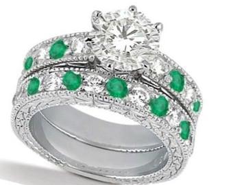 Diamond and Genuine Emerald Vintage Bridal Set 14k White Gold (2.50ct)