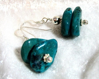 Turquoise Nugget Earrings, Turquoise Silver Earrings, Turquoise Dangle Earrings, 925 Sterling Silver Earrings