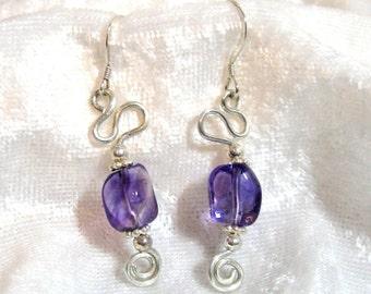 Amethyst Earrings, Freeform Earrings, Dangle Earrings, 925 Sterling Silver Earrings