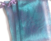 40 3x4 Peacock Blue Organza bags, 3x4 inch