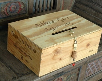 Personalized  French Wine Crate Storage Box  Wedding Card  Box with a Card Slot and  Lock and Key