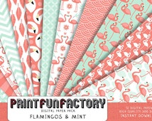 Flamingo digital paper - Flamingo mint & coral background paper  - 12 digital papers (#128 INSTANT DOWNLOAD