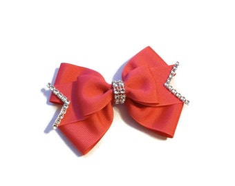Layered Shocking Pink Boutique Bow with Rhinestone Trim- Shocking Pink Stacked Bow-Pink Boutique Bow-Pink Bow (5 1/2 inches Wide)