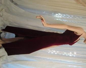 Vintage Slinky Claret Red Velvet Gown, ca 1950s
