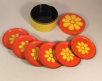 Vintage Orange and Yellow Coasters