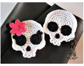Crochet PATTERN, Applique Skull , Patch, Brooch, Application Skeleton, DIY Pattern 151