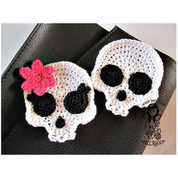Crochet Patterns Skull : Crochet PATTERN, Applique Skull , Patch, Brooch, Application Skeleton ...