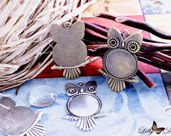 """4 Owl Bezel Pendant Trays - 25mm (1"""") Round Setting - Antique Silver - Antique Brass - Mix-N-Match Colors"""