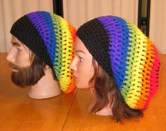 Crochet Rainbow Unisex Slouchy Hat