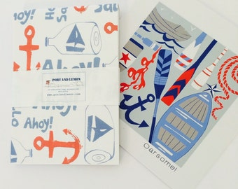 """Thank the teacher gift-  """"Oarsome!"""" card design with """"Ahoy!"""" notebook, the perfect end of term gift."""