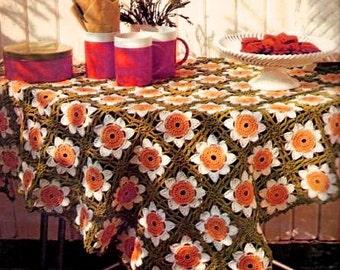 Daisy Tablecloth CROCHET PATTERN - Vintage Flower Table Linen - Motif Granny Squares - PDF Instant Download - Daisy Flower Pattern