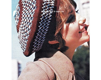 Crochet Cap Pattern Beret Hat - Winter Hat - 70s Floppy Cap - Vintage Pattern - PDF Instant Download - Ball Cap - Digital Pattern Summer Hat