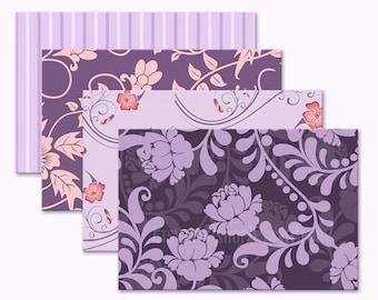 Printable envelope template Purple floral envelopes 4x6 Envelopes Purple envelopes Digital download printable PDF