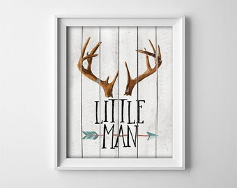 Rustic Nursery Art Print - Woodland Theme - Little Man - Deer - Antlers - Arrow - Nursery - Baby boy - Playroom decor - Gift - SKU:65