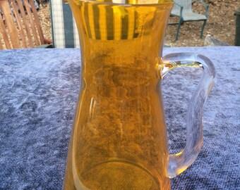 Beautiful glass yellow/orange pitcher