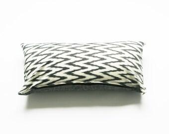 Grey Ikat Zig Zag Lumbar Toss Pillow Cover -Grey Chevron- Handwoven- Throw Pillow Cover