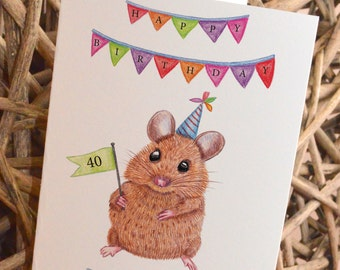 Personalised Mouse Birthday/ Celebration Card
