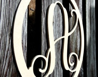 Monogram Letter, Door Hanger, Framed Letter, Wooden, True Oval
