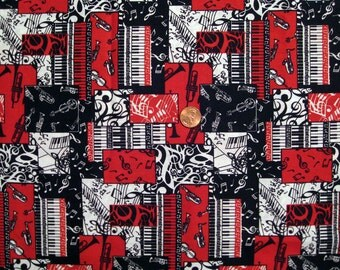 Music Instrument print fabric - half yard  x 1