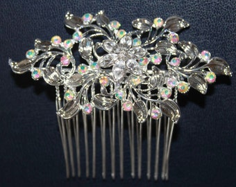 Silver Mini Haircomb with Crystals AB (HLDtiara-188)