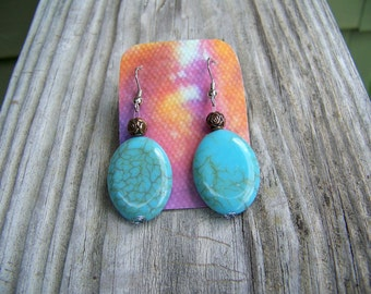 Turquoise and Rose Earrings