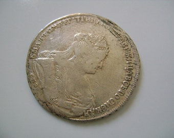 1738 Russia Rouble Large Very Scarce Silver Coin from 18th Century Enlightenment Era with Russian Queen Anna Ioannovna & Double Headed Eagle