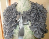 Ladies Hand Knitted Frilly Wrap/Cape  FREEPOST in Uk Evening , Party , Cruise , Wedding