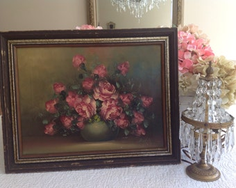 Gorgeous vintage shabby cottage pink roses oil painting